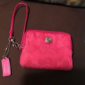 Coach medium canvas/leather change purse/wristlet